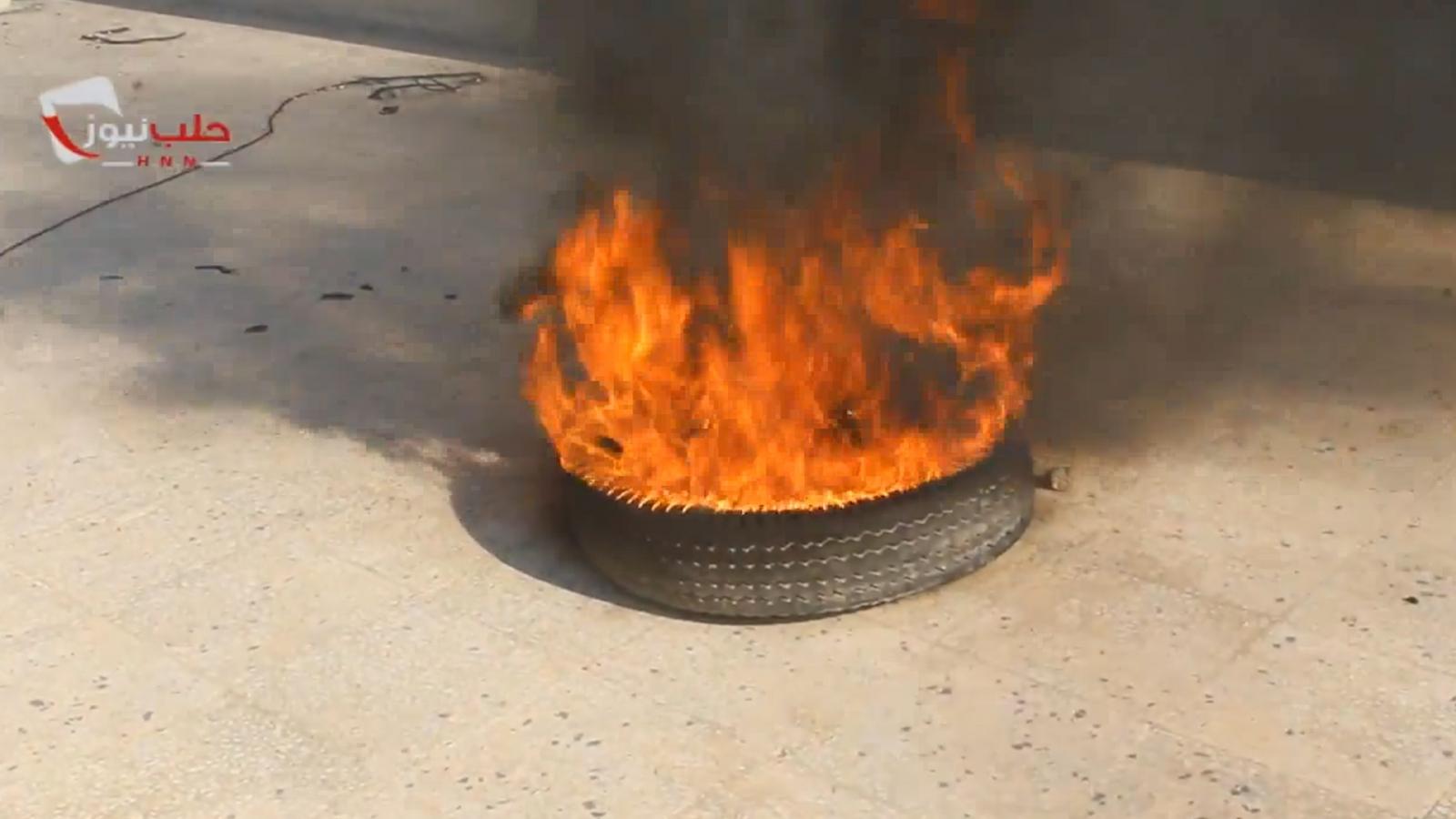 Syrians burn tyres in Aleppo