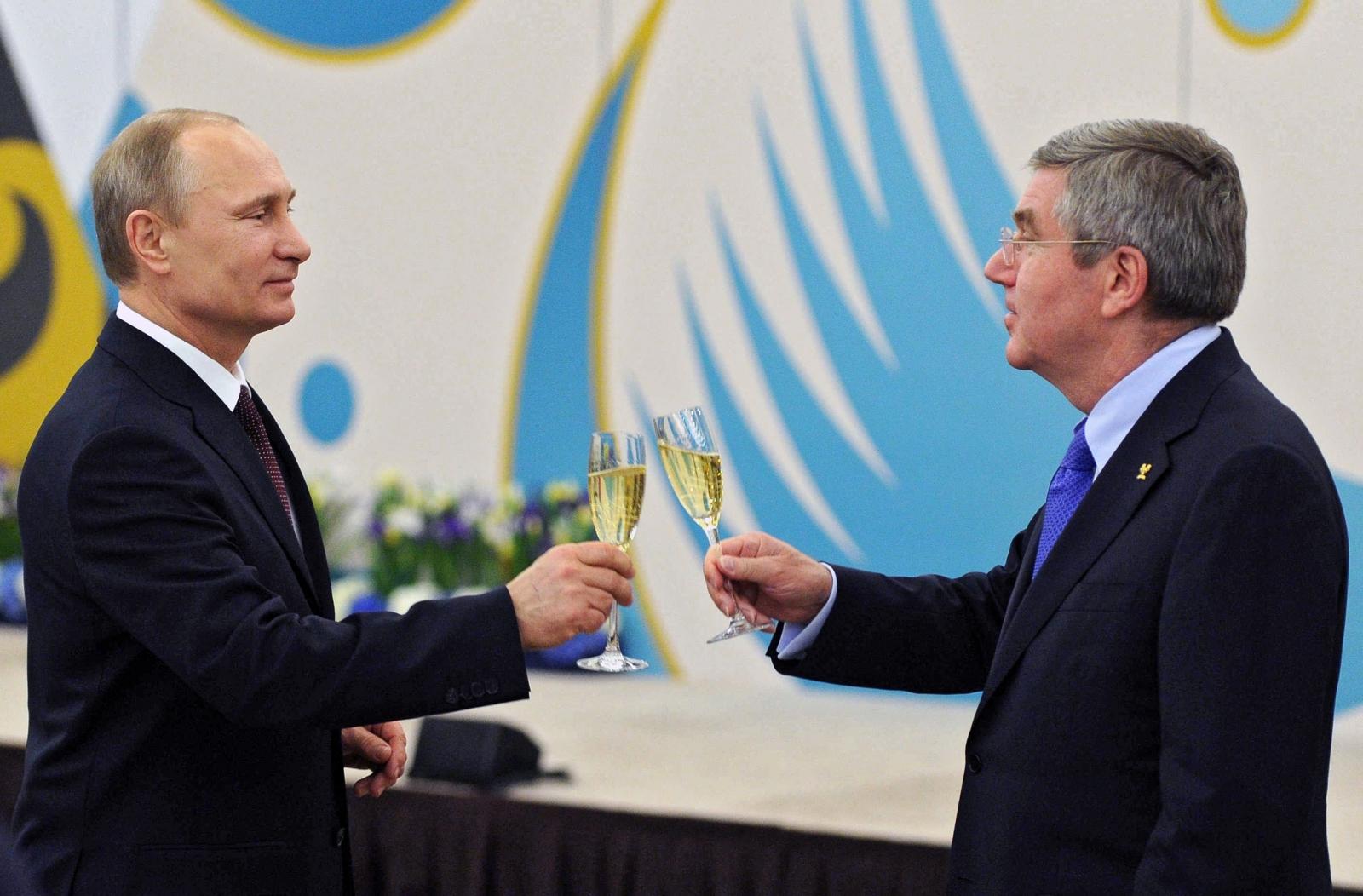 Vladimir Putin and Thomas Bach