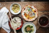 Dishes lain out at CURIO + TATA