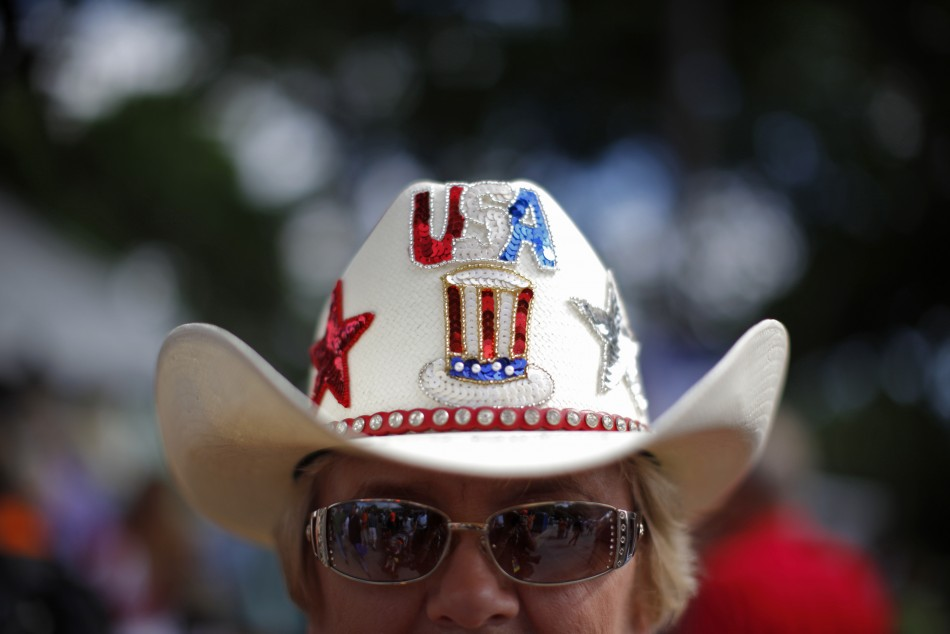 A supporter of U.S. Republican presidential candidate Bachmann attends the Iowa Straw Poll in Ames