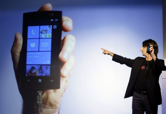 """Microsoft's VP for Windows Phone Program Management Joe Belfiore presents """"Windows phone 7."""" Microsoft showed a strong quarter, but has not built a strong presence in the mobile sector."""