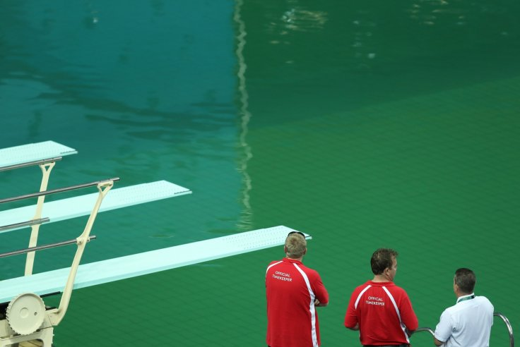 Green Olympic diving pool