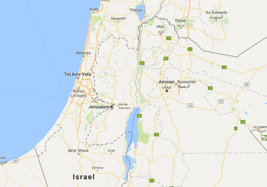 Google Maps showing Israel and Palestine