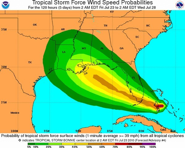 Tropical Storm Bonnie's expected trajectory in the next 120 hours, according to the National Oceanic and Atmospheric Administration