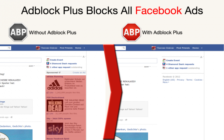 Adblock Plus demonstrates solution working on Facebook