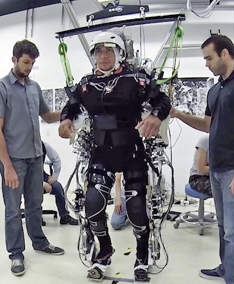 A paraplegic in a robotics exoskeleton suit