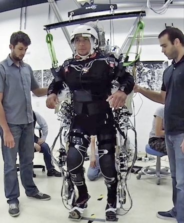 A paraplegic in a robotics exoskeleton suit