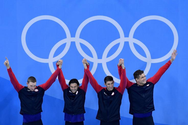 Ryan Murphy, Cody Miller, Michael Phelps and Nathan Adrian