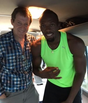Usain Bolt and Alastair Campbell