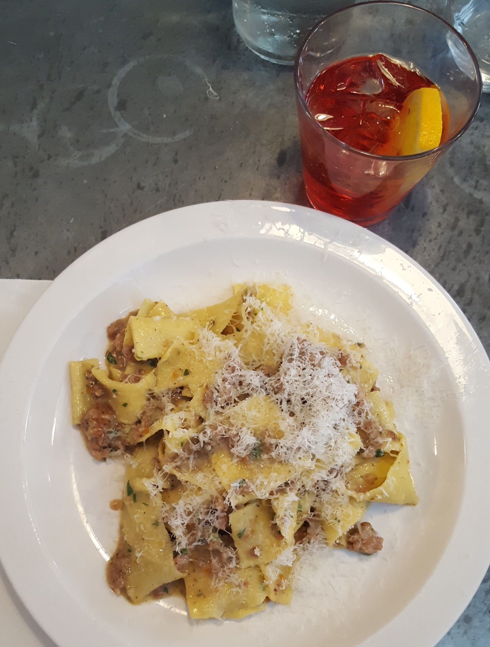 Papperdelle with sausage ragu at Padella