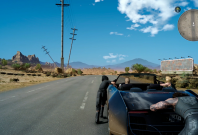 Final Fantasy 15 pushing car