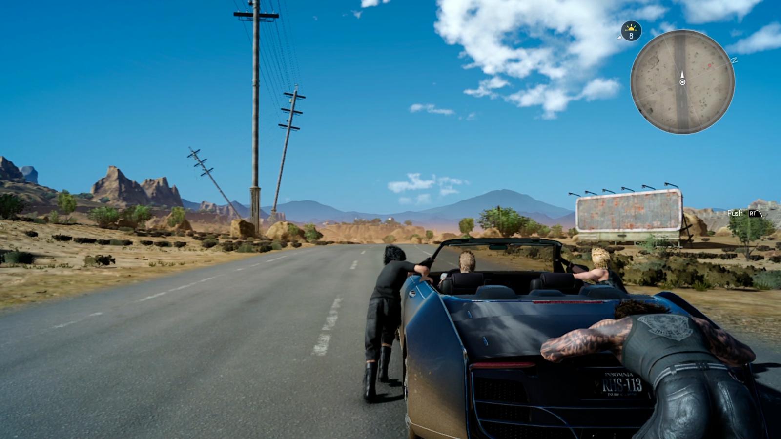 Final Fantasy 15 pushing car