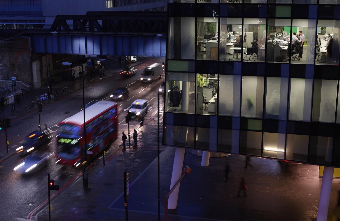 London bus at night