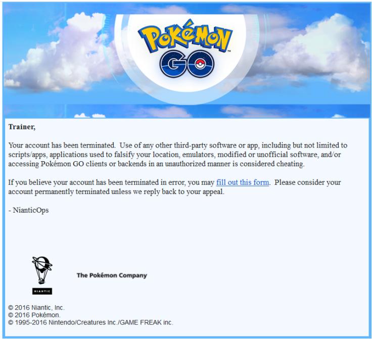 Pokemon Go ban email
