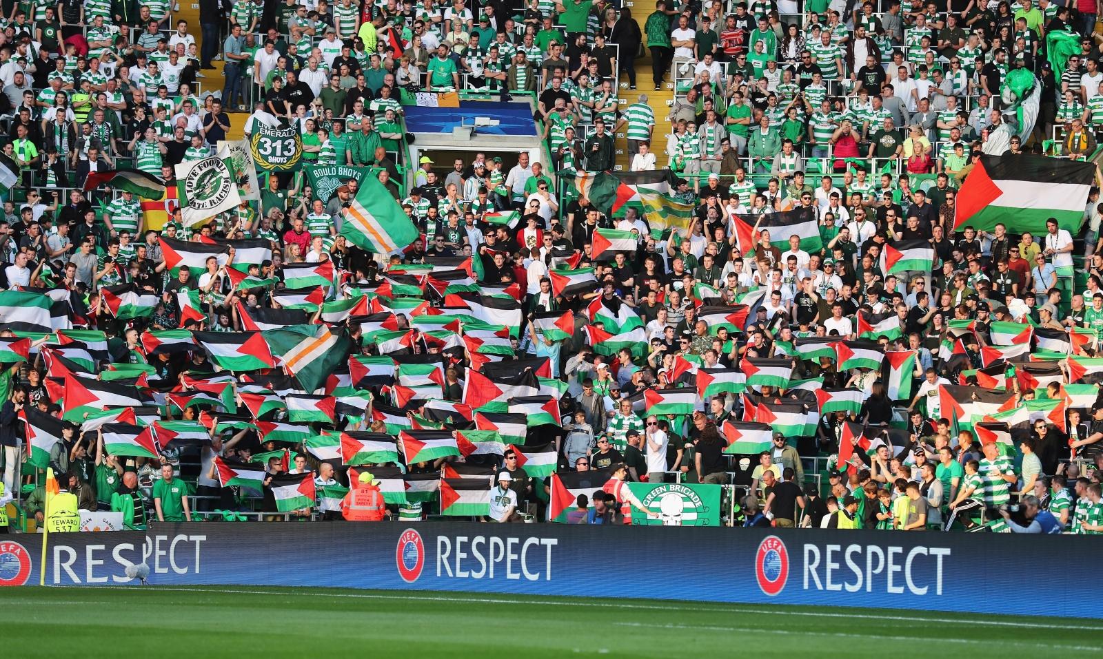 Celtic fans face fine after Palestine flags