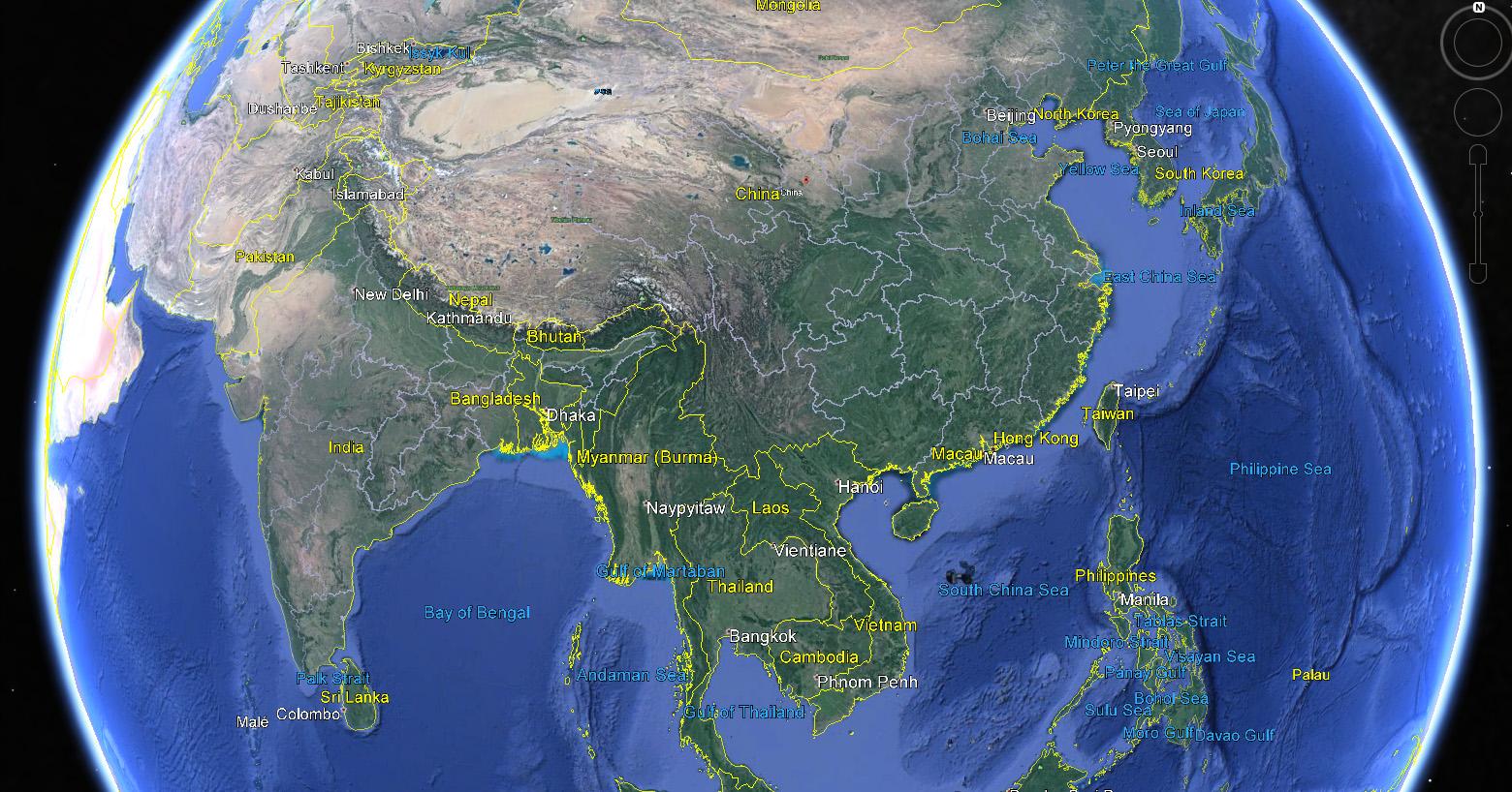 China on Google Earth