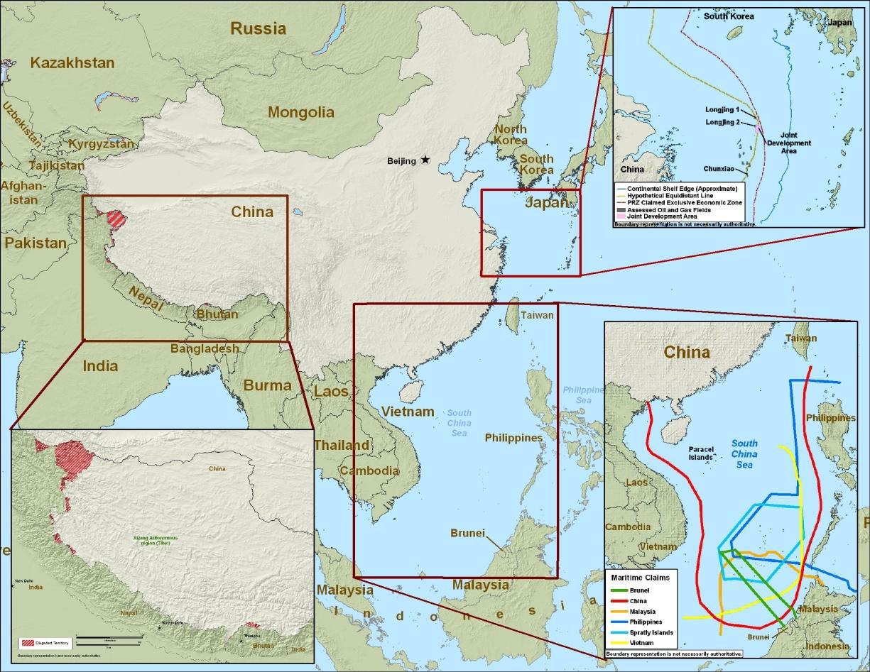 China's disputed territories