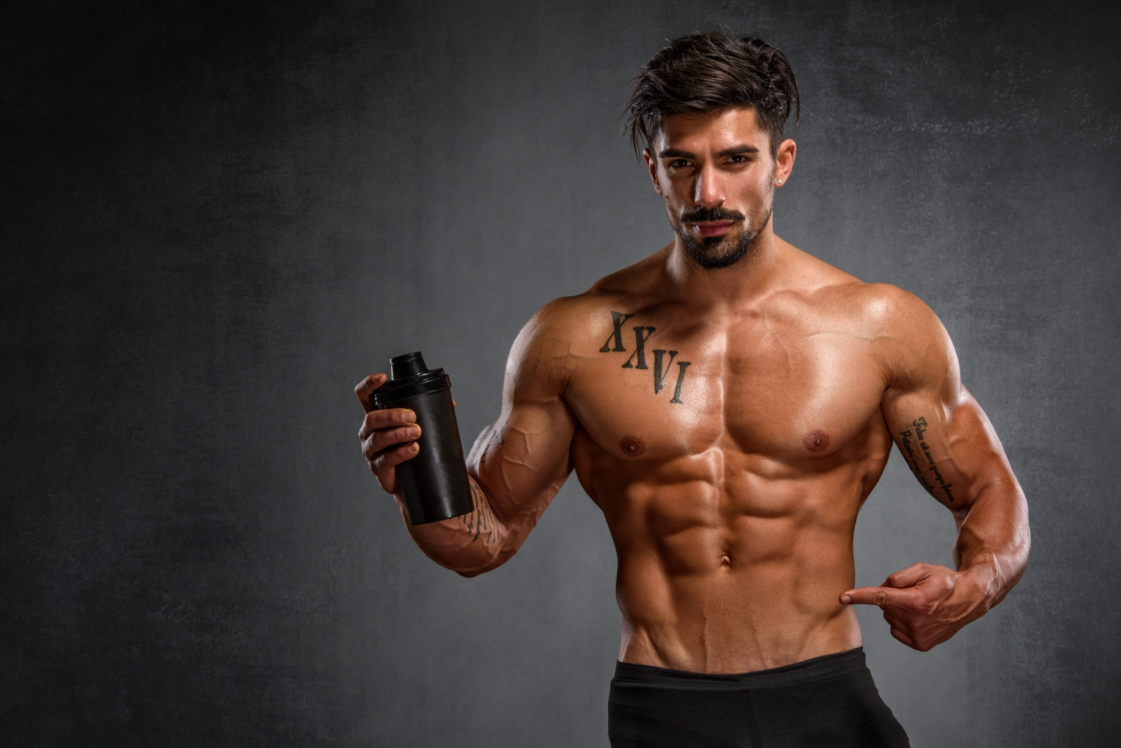 Athlete with protein shake