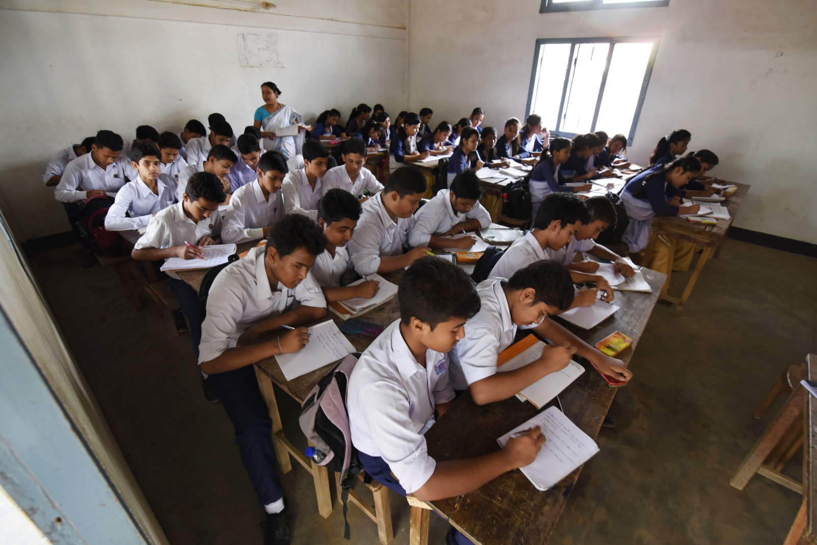Indian students writing test