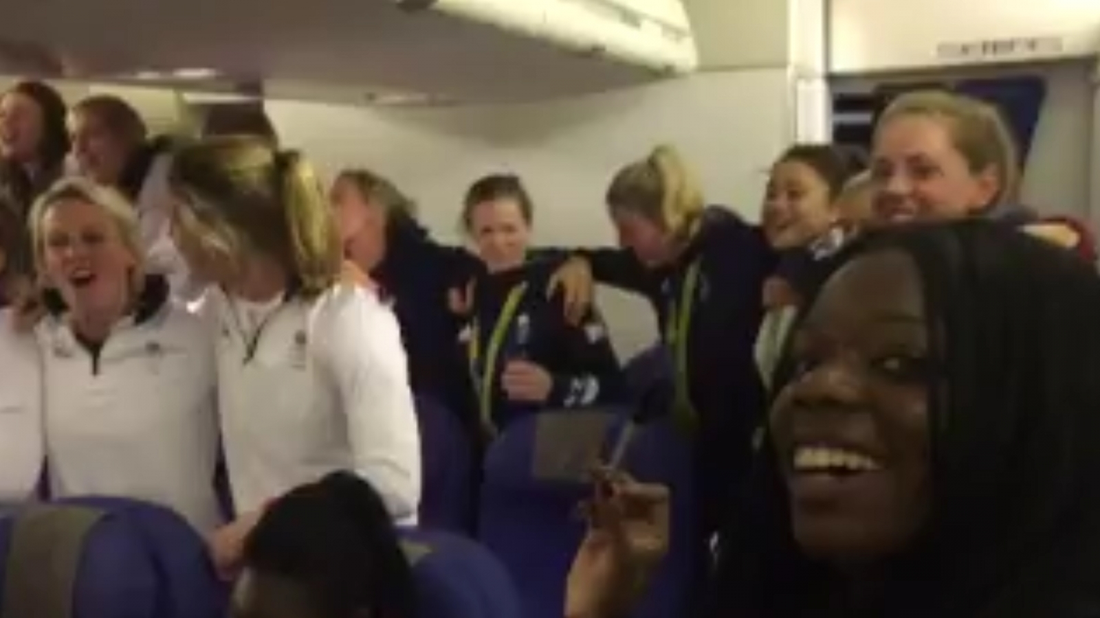Team GB sing God Save the Queen on plane back from Rio