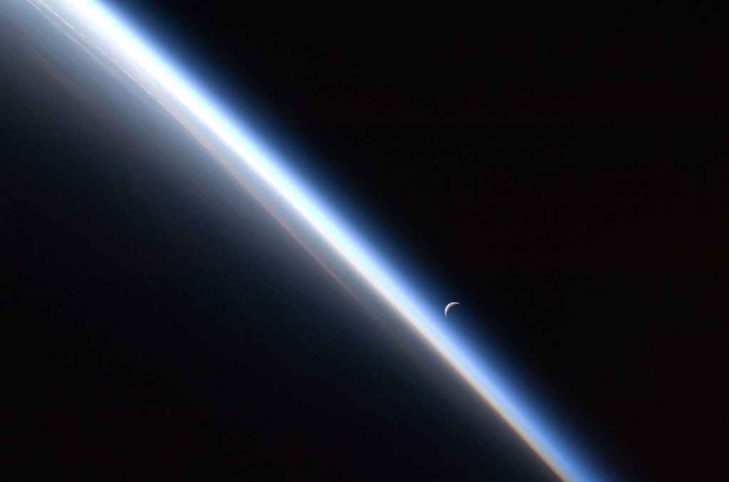 Earth's atmosphere with moon