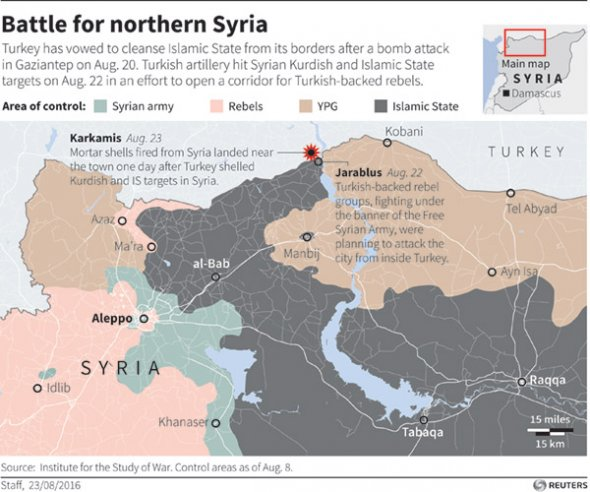 Syria Turkey Isis Kurds map