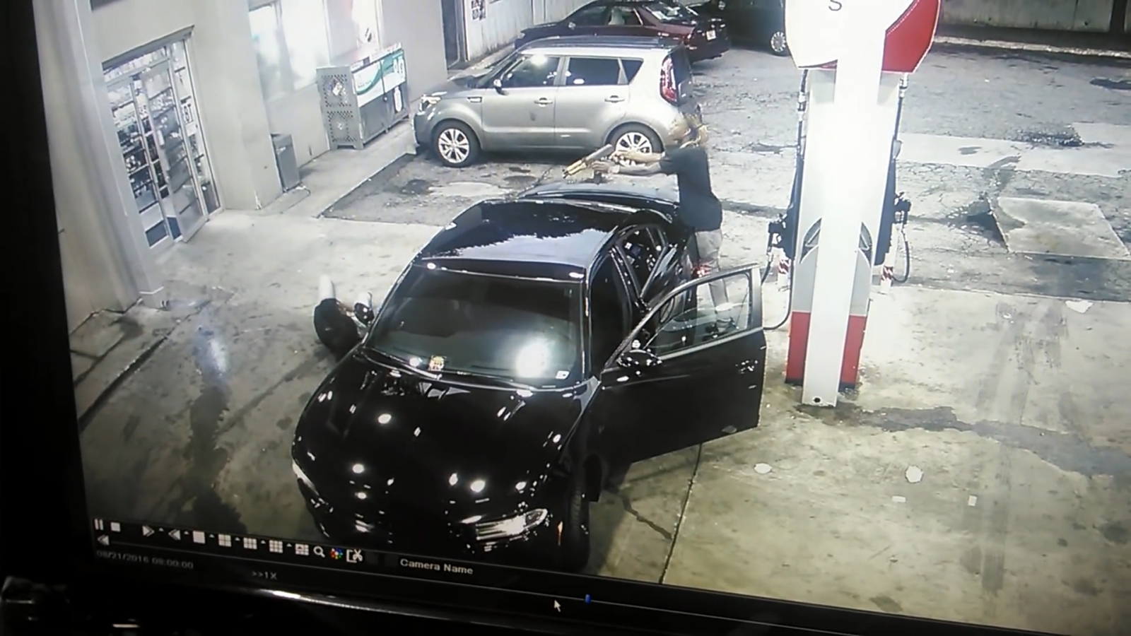 Atlanta petrol station shootout caught on CCTV