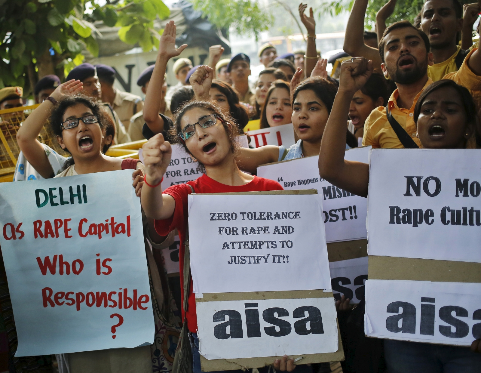 Indian women demonstrating against rape cases