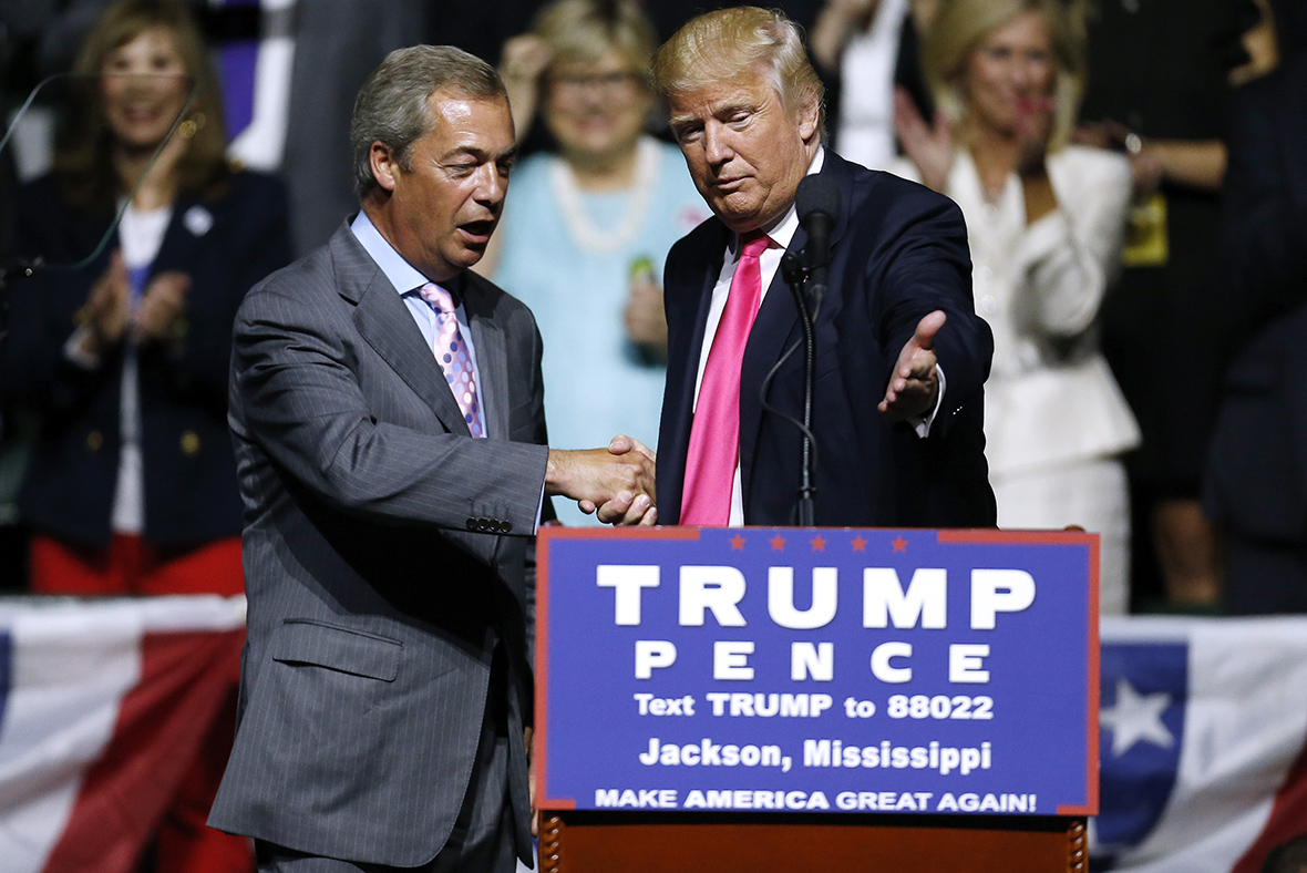Nigel Farage joins Donald Trump on stage to rally supporters in Mississippi