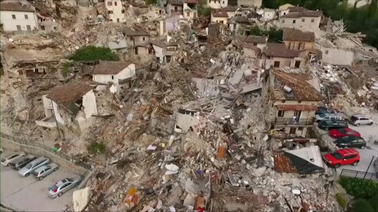 Italy earthquake: Chilling drone footage shows destruction of Pescara del Tronto