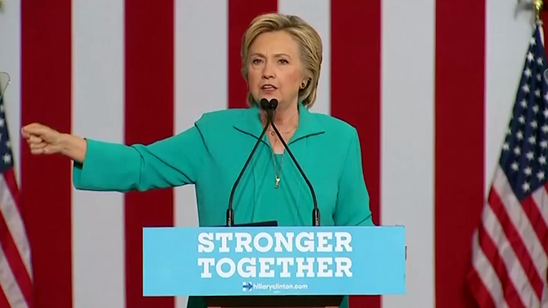 Hillary Clinton attacks Donald Trump's appearance with Nigel Farage
