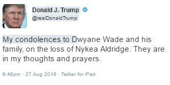Donald Trump Dwyane Wade condolence tweet