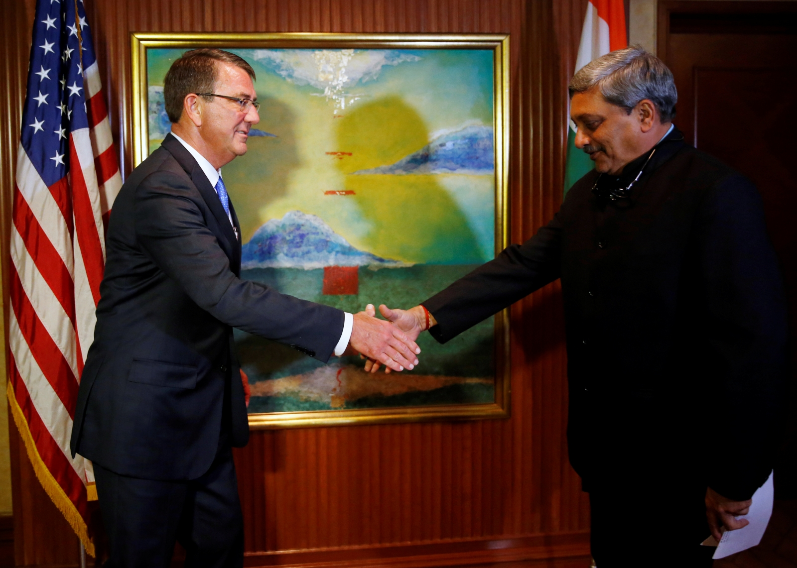 Us india sign pact to share each others land air and naval bases indias defence minister manohar parrikar for bilateral talks on monday 28 august where they signed a logistics agreement to let delhi and washington platinumwayz