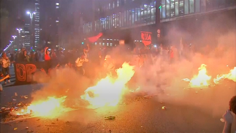 Brazilian protesters clash with police as Dilma Rousseff impeachment trial starts to conclude