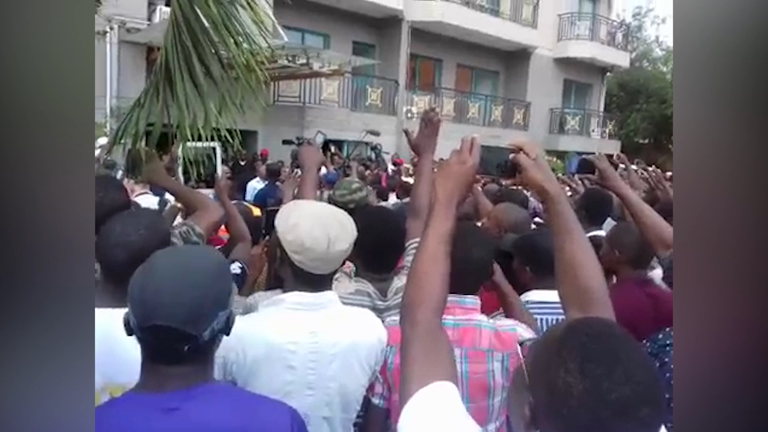 Opposition supporters celebrate ahead of official presidential results in Gabon