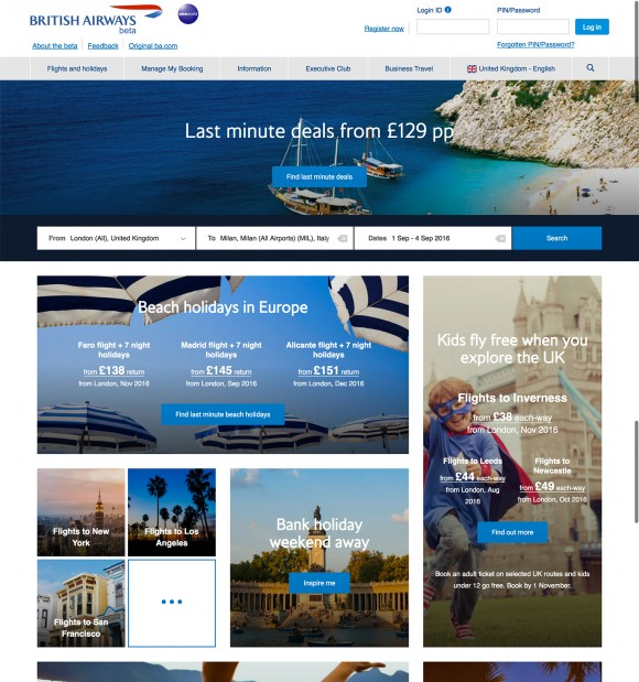British Airways goes live with new homepage and flight booking process