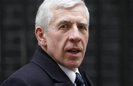Then-Justice Secretary Straw leaves after attending the weekly cabinet meeting at 10 Downing Street in central London