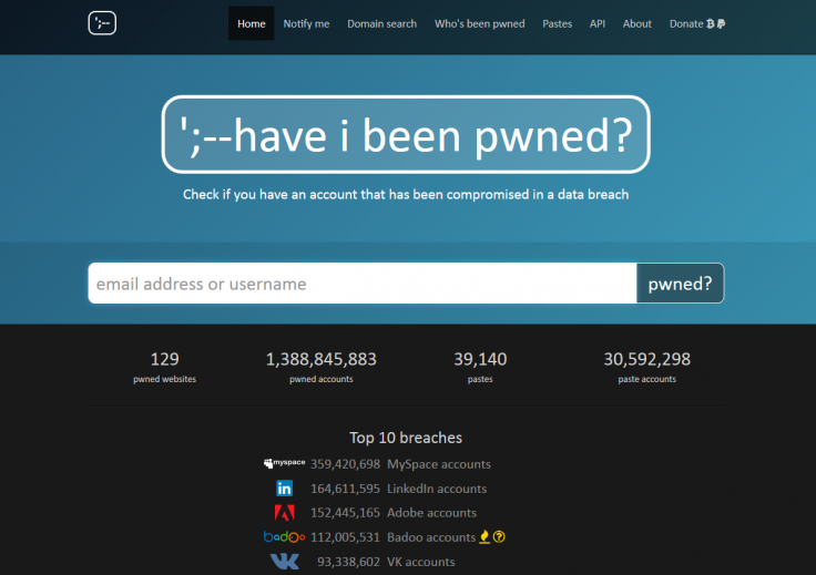 Have I Been Pwned Homepage