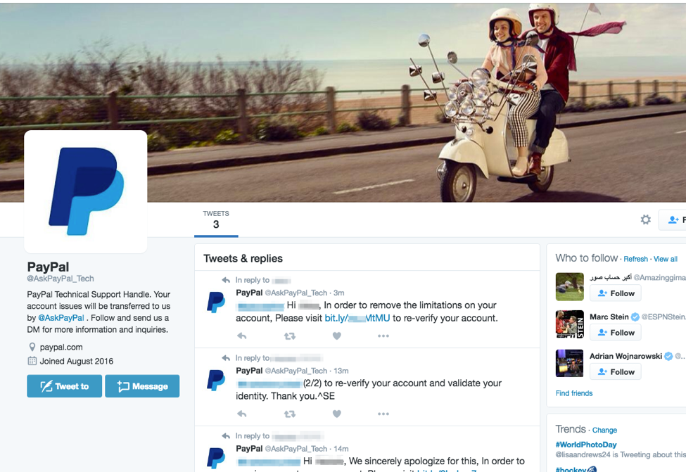 PayPal users targeted with new phishing scam on Twitter