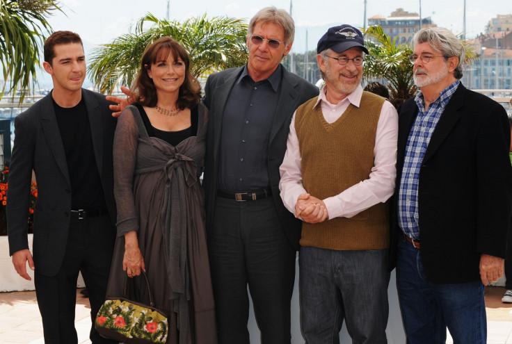 Shia LaBeouf, Harrison Ford, Karen Allen, directors Steven Spielberg and George Lucas