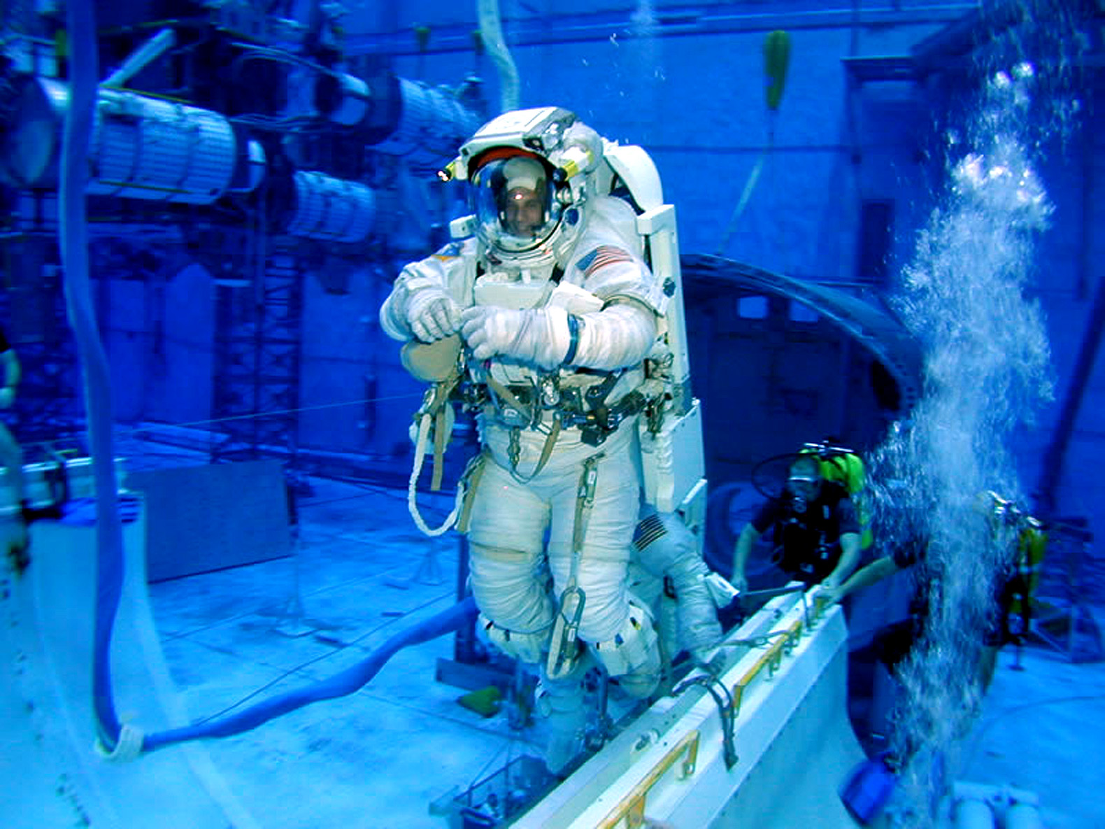 A Nasa astronaut training underwater