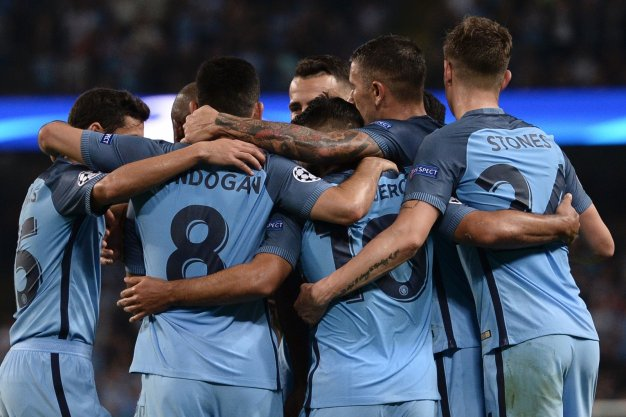 Manchester City celebrate at the Etihad