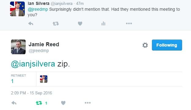 Jamie Reed MP tweet