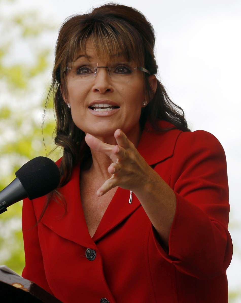 Former Alaska Governor Sarah Palin speaks at a Tea Party Express rally in Manchester
