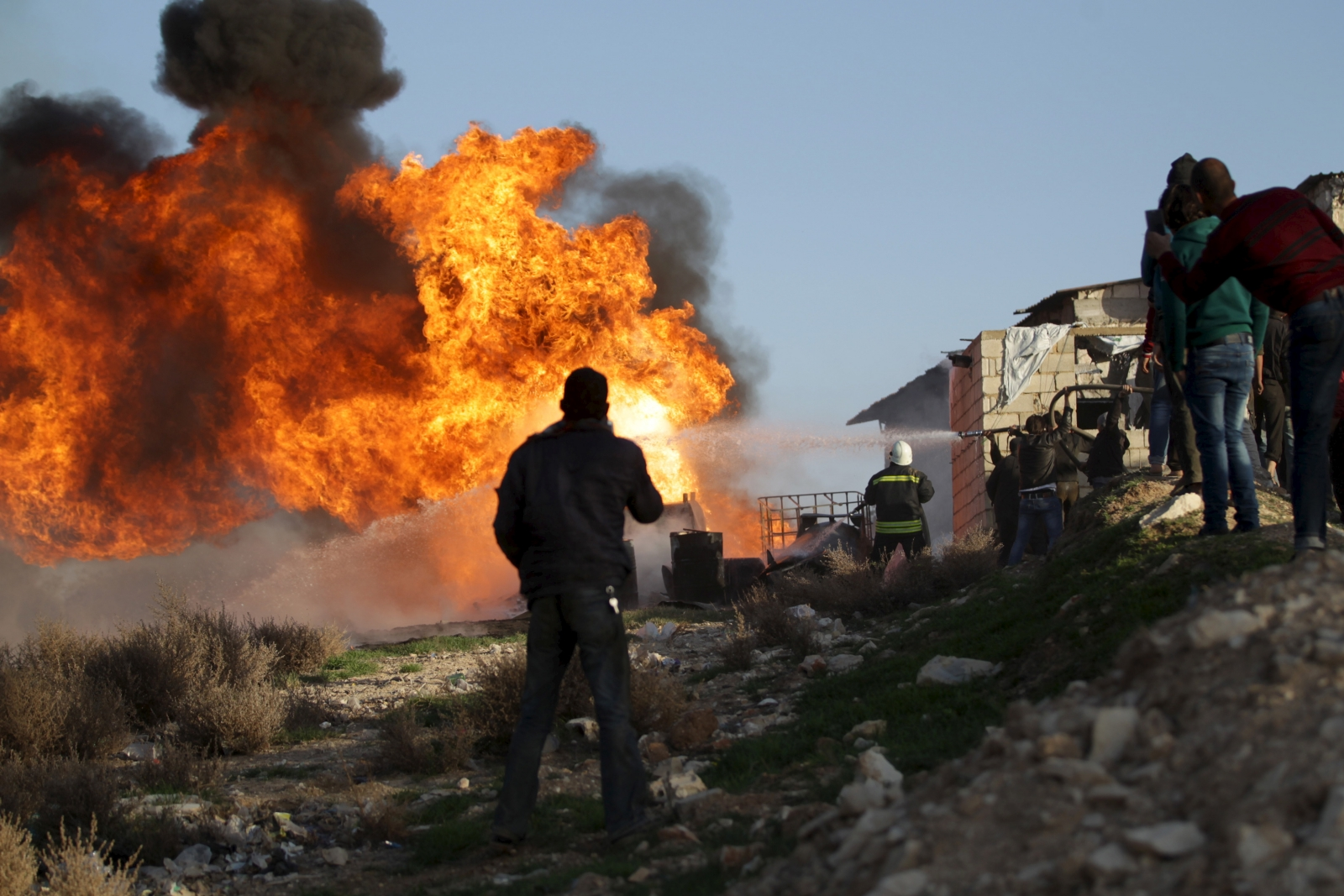 A fire in Idlib province