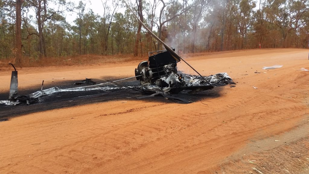 Helicopter destroyed by cow
