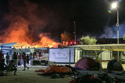 Lesbos camp fire