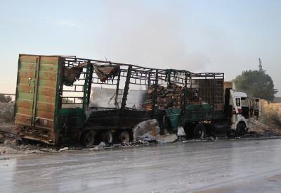 Syria aid convoy bombed