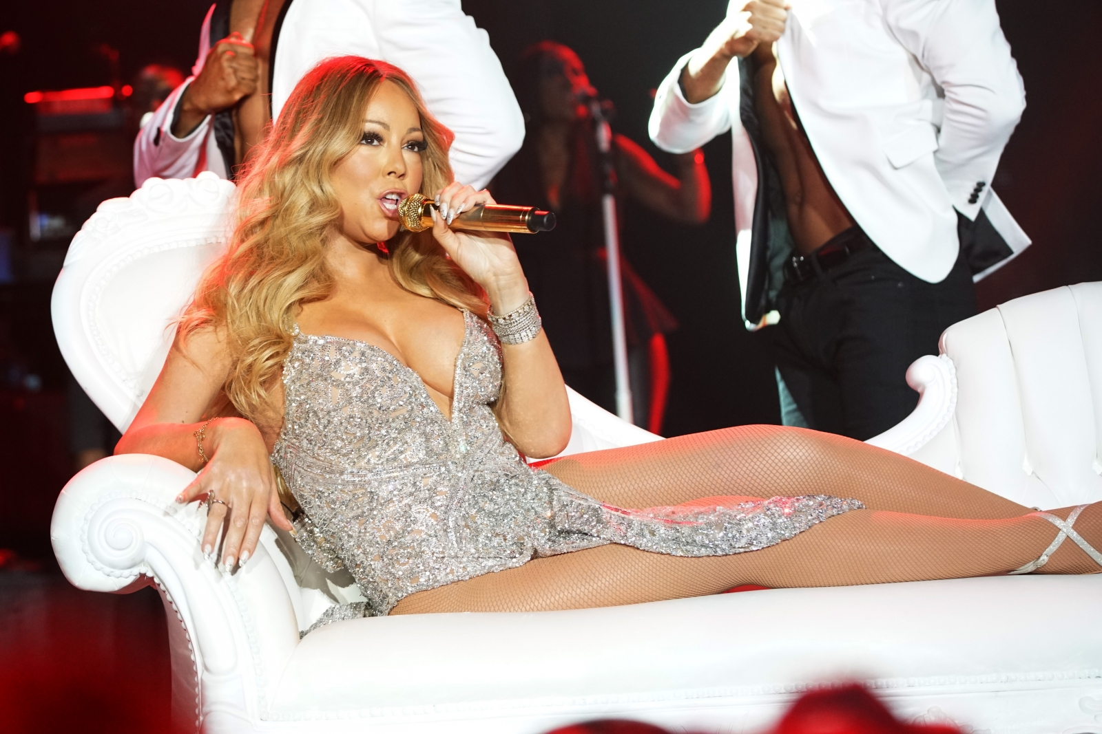 Mariah Carey Dons A Shiny Diamond Bra While Filming For