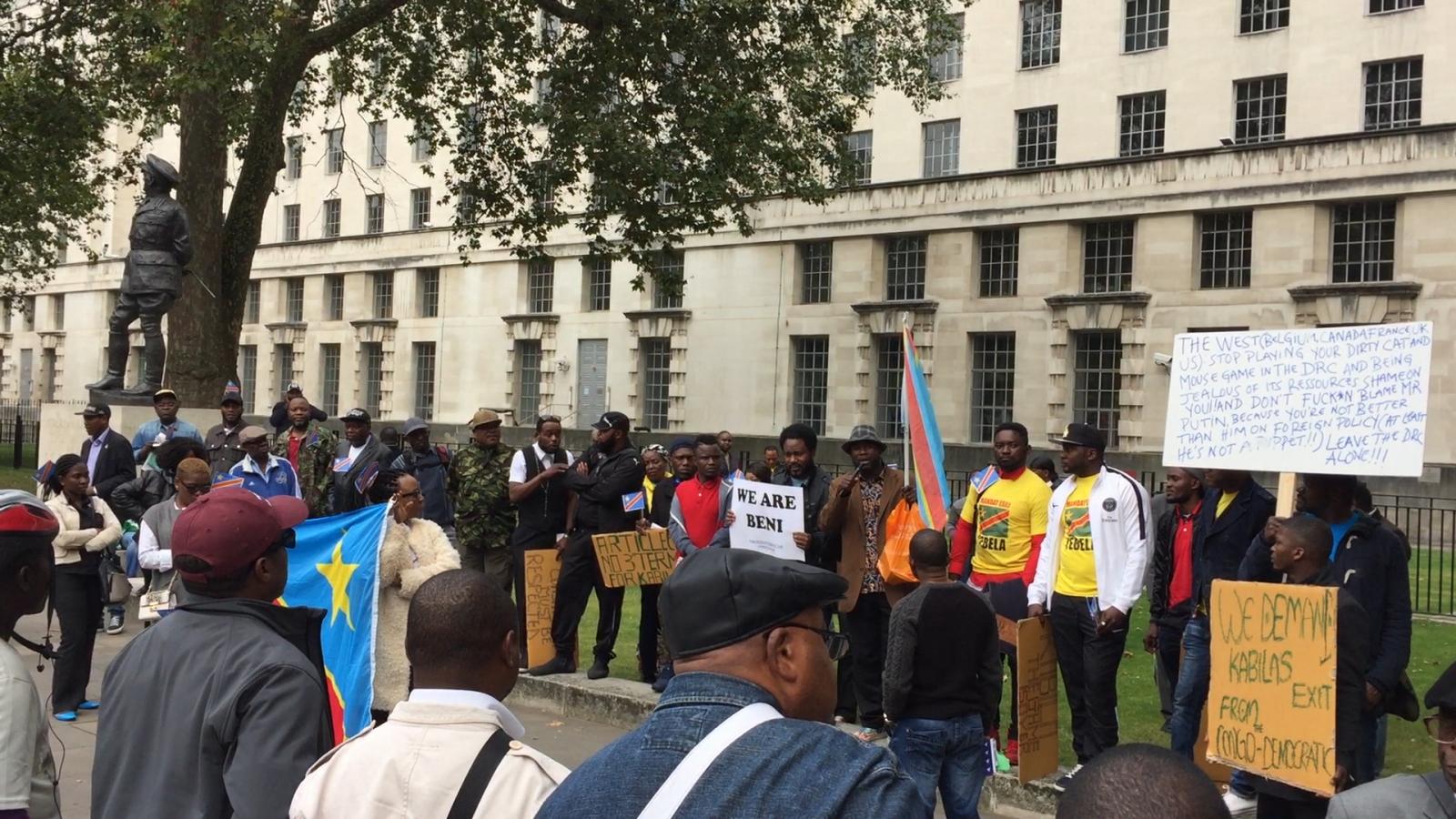 Dozens gather outside Downing Street to call on DRC President Joseph Kabila to step down